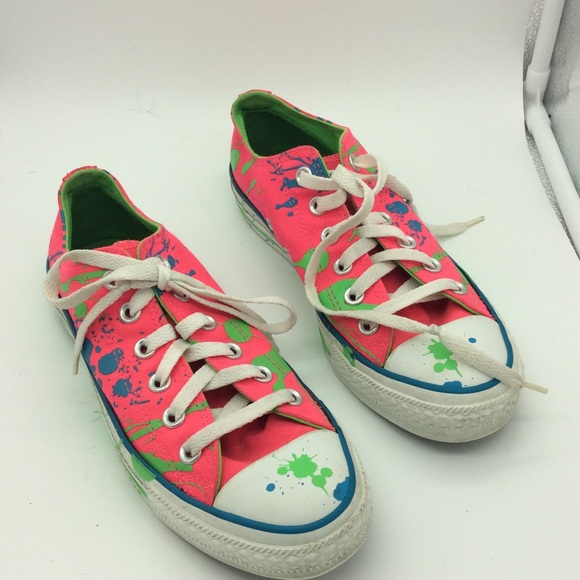 f421e5074f88 Converse Shoes - Converse pink paint splatter unisex sneakers M5 W7